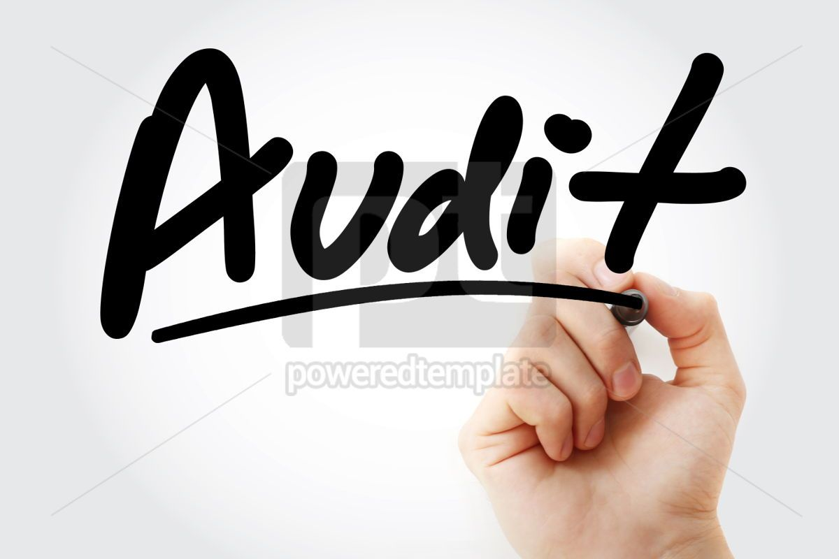 Audit text with marker, 01445, Business — PoweredTemplate.com
