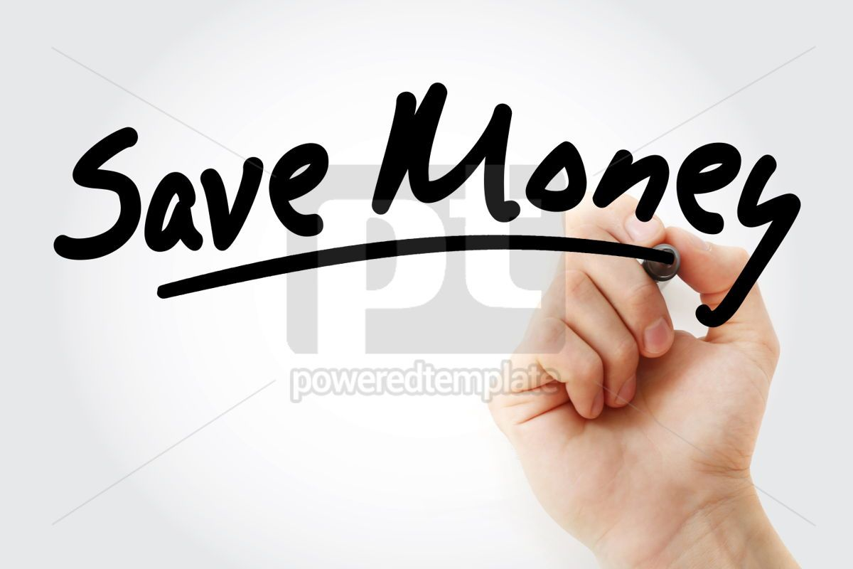 Save Money text with marker, 01536, Business — PoweredTemplate.com