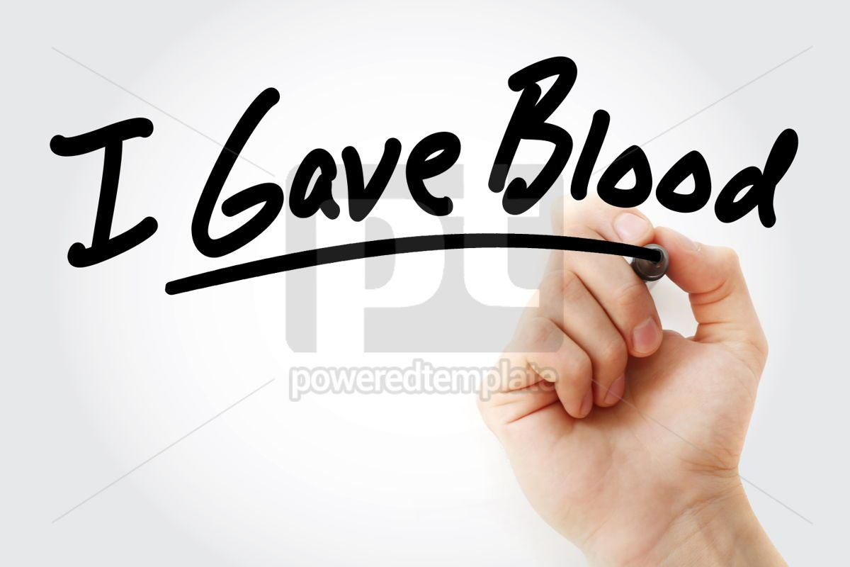Hand writing I Gave Blood with marker, 01565, Health — PoweredTemplate.com