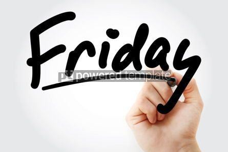Business: Hand writing Friday text with marker #01583
