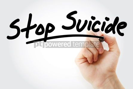 Business: Hand writing Stop Suicide text with marker #01597