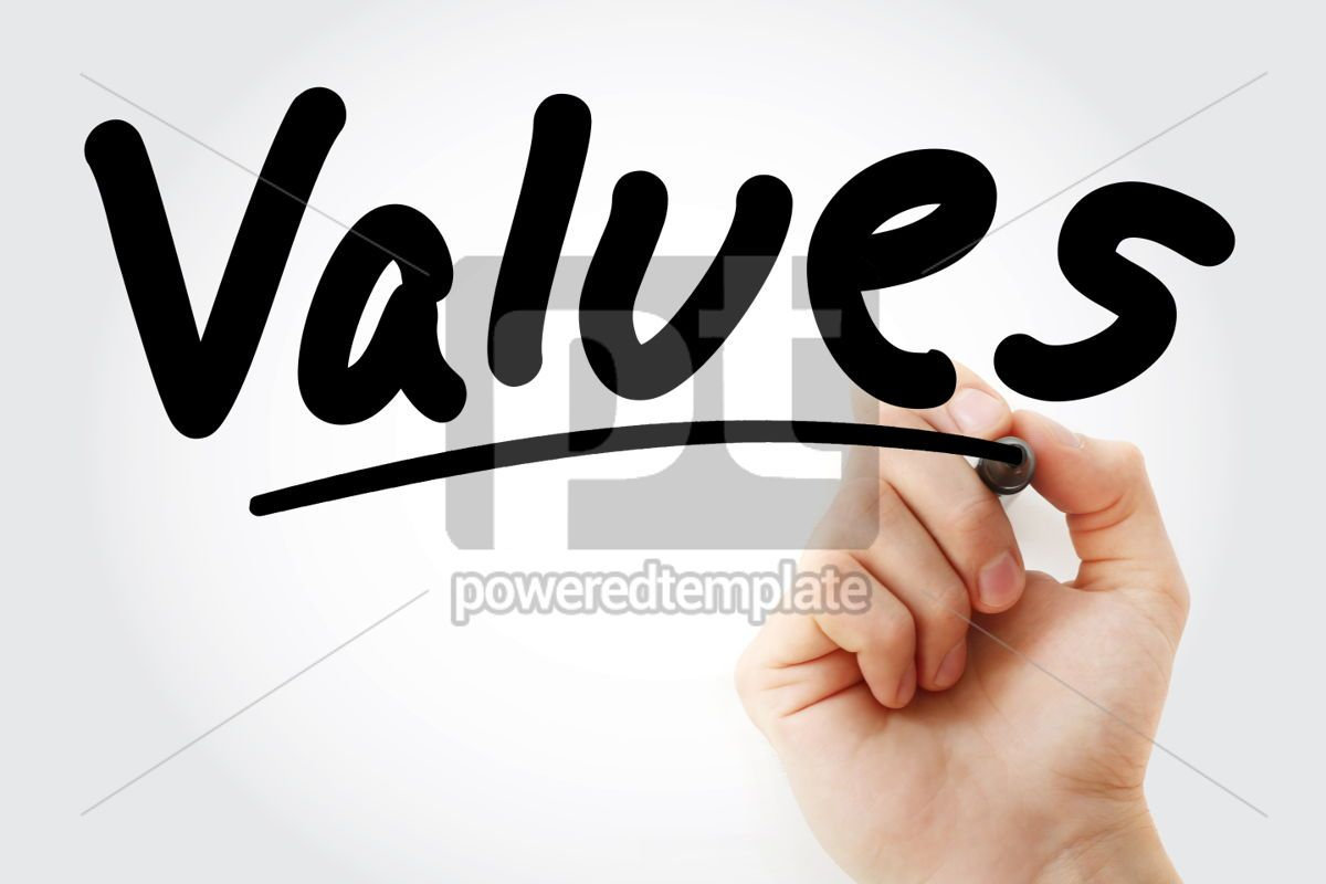 Hand writing Values text with marker, 01600, Business — PoweredTemplate.com