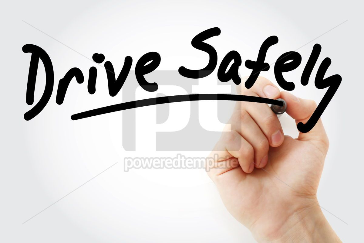 Hand writing Drive Safely with marker, 01602, Business — PoweredTemplate.com