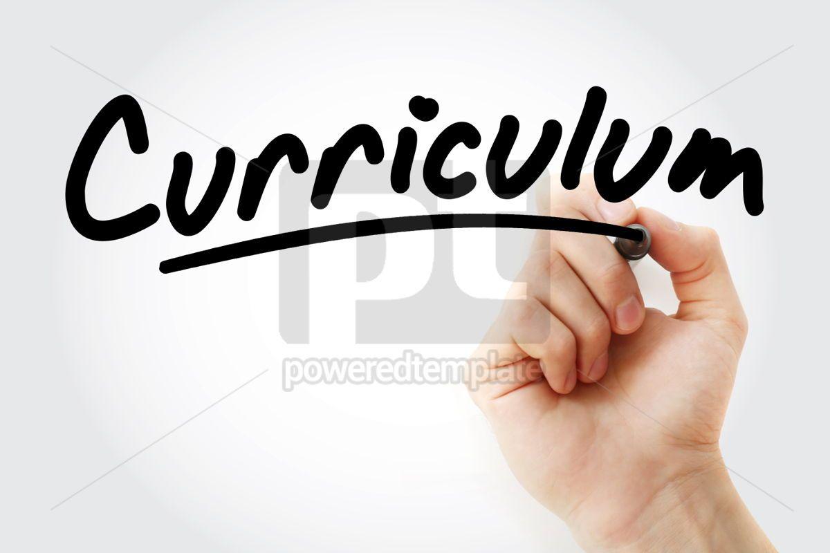 Hand writing Curriculum with marker, 01666, Business — PoweredTemplate.com