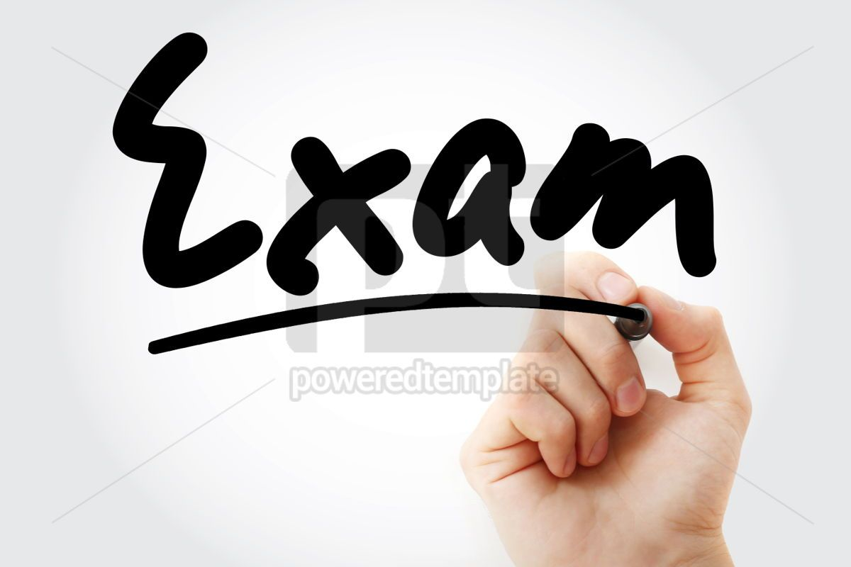 Hand writing Exam text with marker, 01674, Business — PoweredTemplate.com