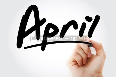 Business: Hand writing April with marker #01688