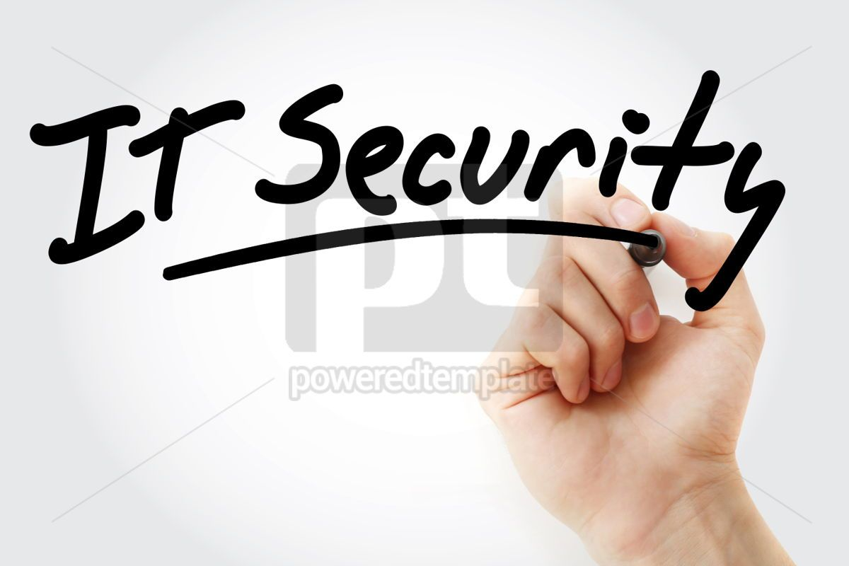 Hand writing IT Security with marker, 01703, Business — PoweredTemplate.com