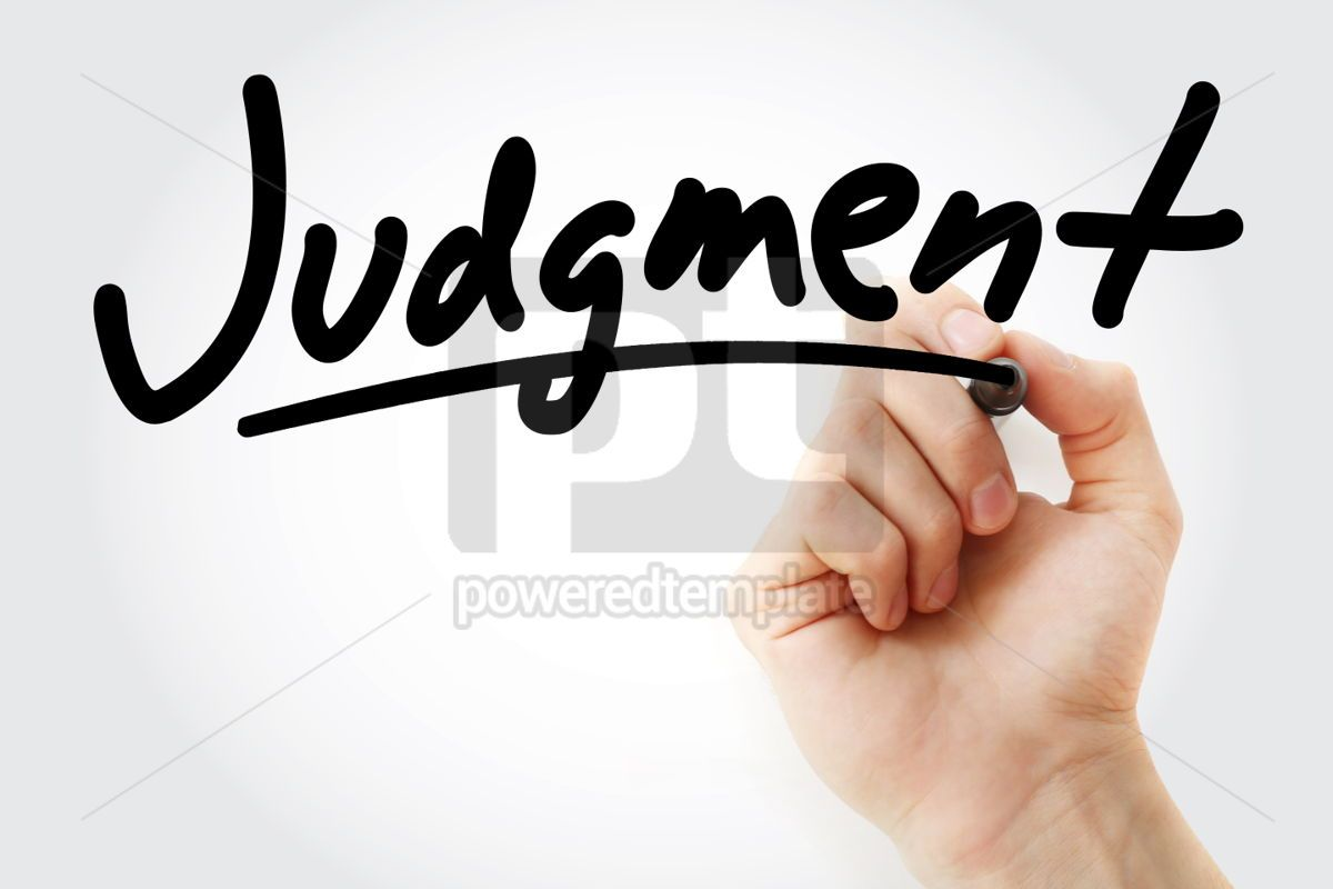 Hand writing Judgment with marker, 01718, Business — PoweredTemplate.com