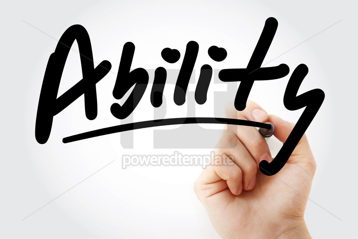 Hand writing ABILITY with marker, 01776, Business — PoweredTemplate.com