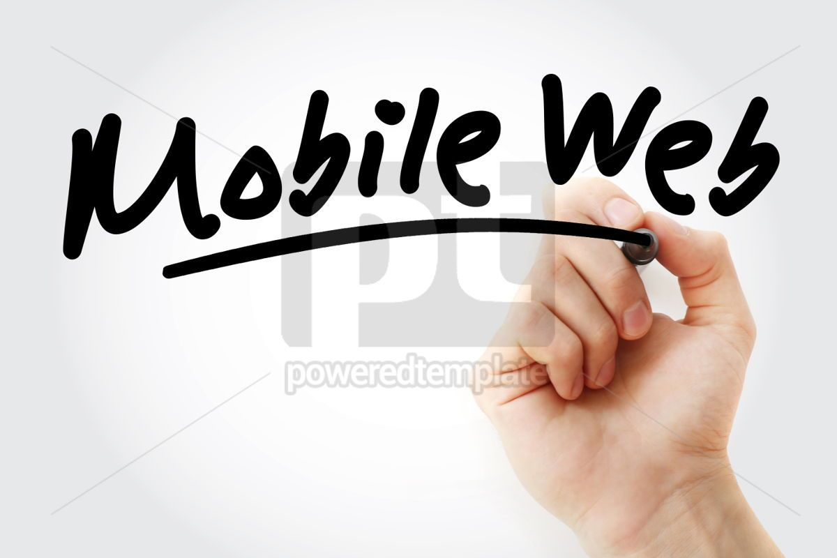 Hand writing Mobile web with marker, 01809, Business — PoweredTemplate.com