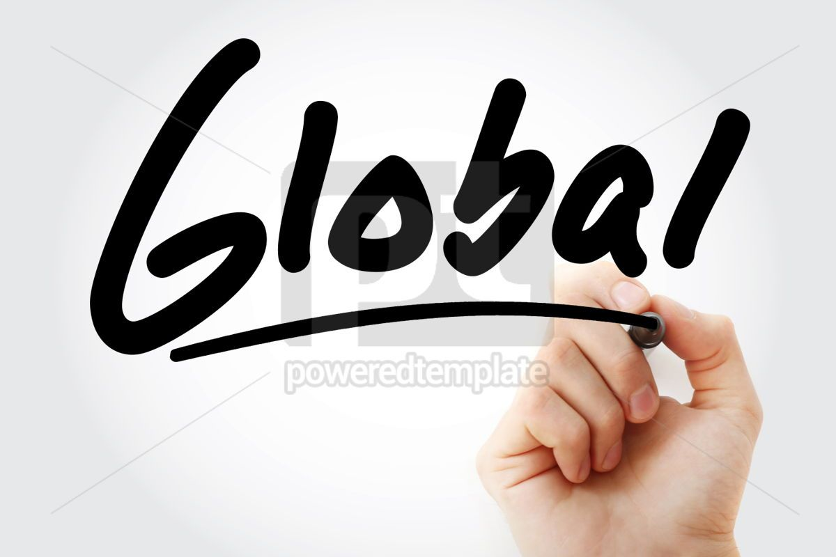 Hand writing Global with marker, 01851, Business — PoweredTemplate.com