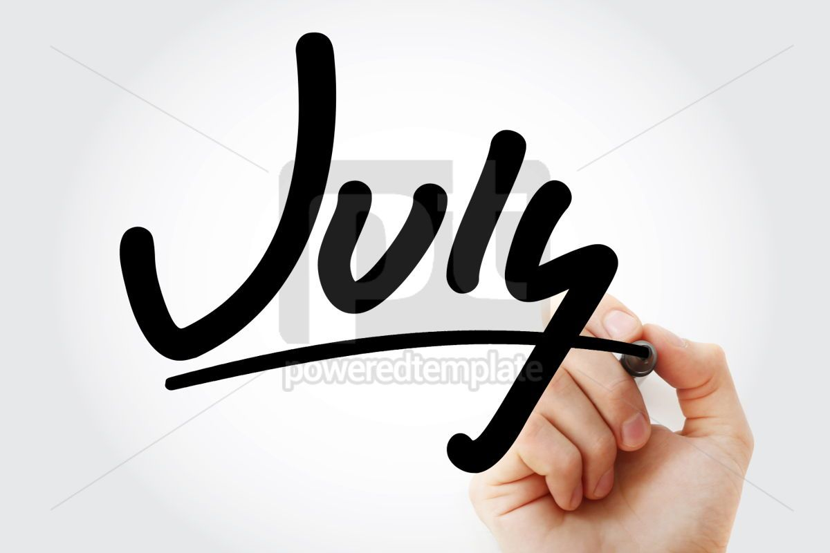 Hand writing July with marker, 01934, Business — PoweredTemplate.com