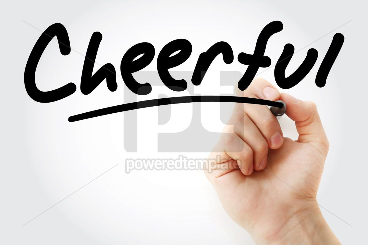 Hand writing Cheerful with marker, 02028, Business — PoweredTemplate.com