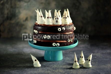 Food & Drink: Homemade Chocolate Cake with Chocolate cream and Meringue Ghost and Eyes for Halloween Party. #02196