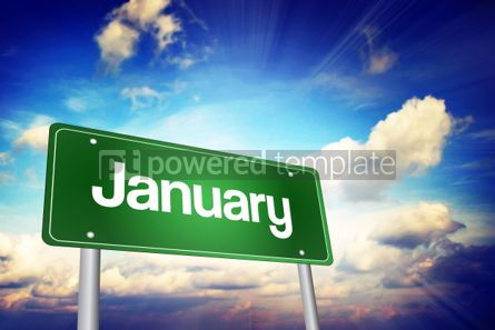 Business: January Green Road Sign Months of the Year  #02198