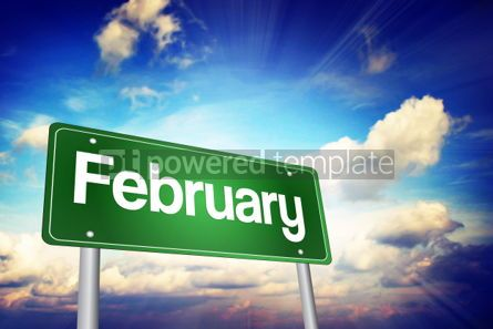 Business: February Green Road Sign Months of the Year concept #02199