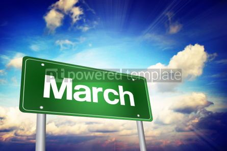 Business: March Green Road Sign Months of the Year concept