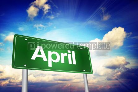 Business: April Green Road Sign Months of the Year concept #02201
