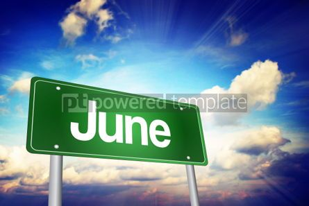 Business: June Green Road Sign Months of the Year concept