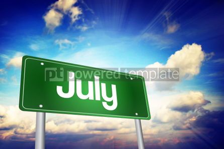 Business: July Green Road Sign Months of the Year concept #02204