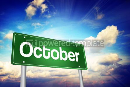 Business: October Green Road Sign Months of the Year concept