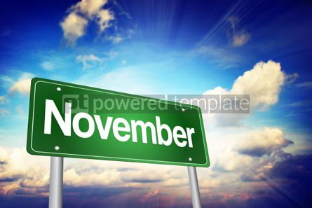 Business: November Green Road Sign Months of the Year concept