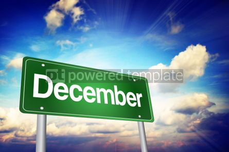 Business: December Green Road Sign Months of the Year concept