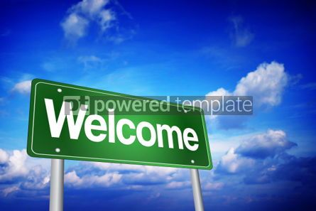 Business: Welcome Green Road Sign Business Concept