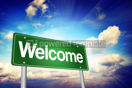 Business: Welcome Green Road Sign Business Concept #02219