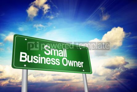 Business: Small Business Owner Green Road Sign Business Concept #02225