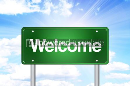 Business: Welcome Green Road Sign Business Concept #02228