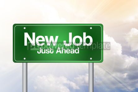 Business: New Job Just Ahead Green Road Sign business concept #02229
