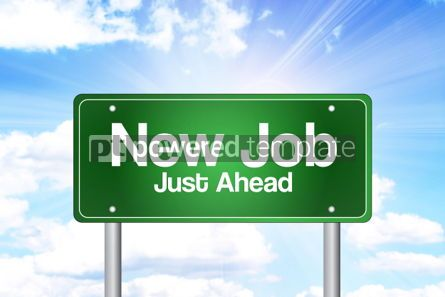 Business: New Job Just Ahead Green Road Sign Business Concept
