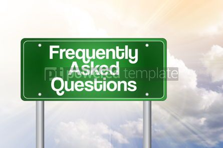 Business: Frequently Asked Questions (FAQ) Green Road Sign Business Conce #02234