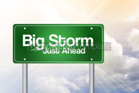 Business: Big Storm Green Road Sign Business Concept #02242