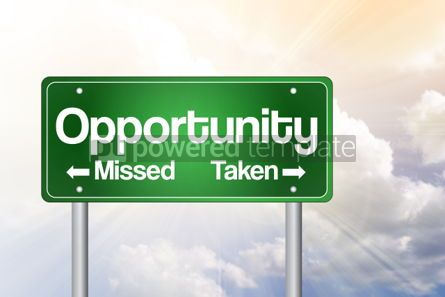 Business: Opportunity Missed and Taken Green Road Sign Business Concept #02243