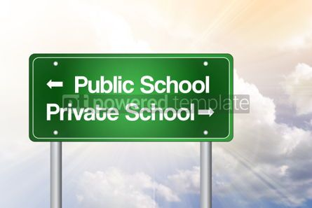 Business: Public or Private School Green Road Sign Education Concept