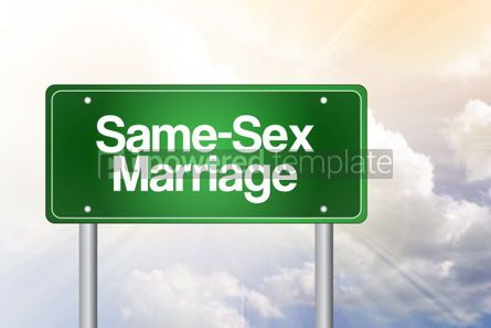 Business: Same-Sex Marriage Green Road Sign Concept