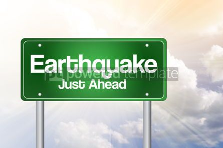 Business: Earthquake Green Road Sign Concept