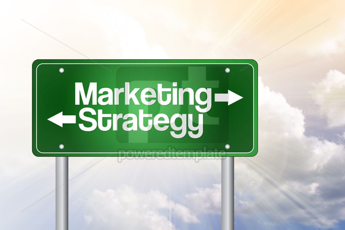 Marketing Strategy Green Road Sign Business Concept, 02288, Business — PoweredTemplate.com