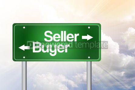 Business: Seller Buyer Green Road Sign Business Concept
