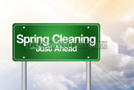 Business: Spring Cleaning Just Ahead Green Road Sign business concept