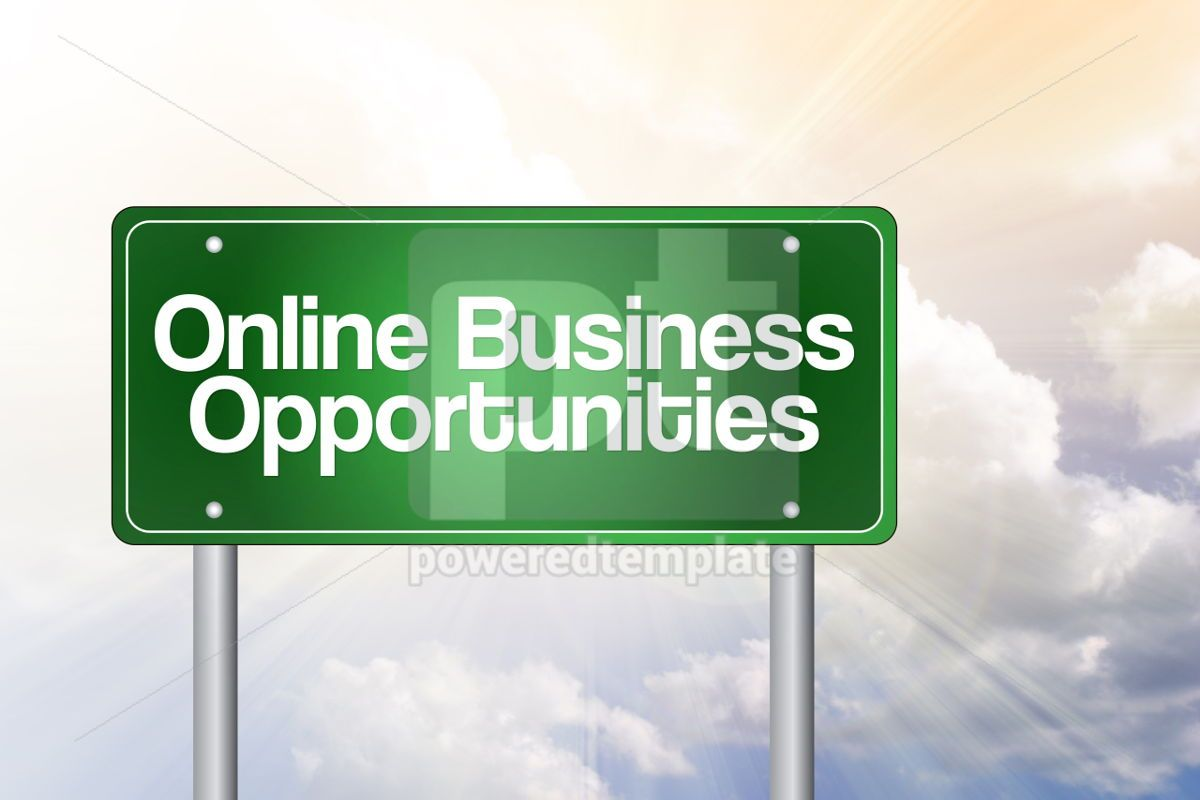 Online Business Opportunities Green Road Sign business concept