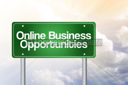 Business: Online Business Opportunities Green Road Sign business concept