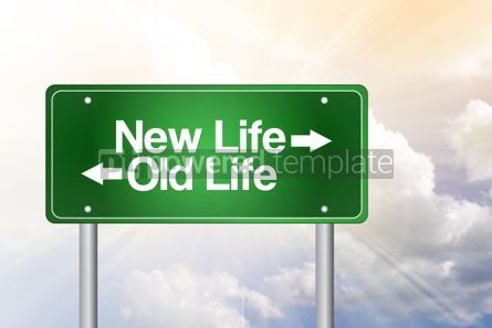 Business: New Life Old Life Green Road Sign business concept