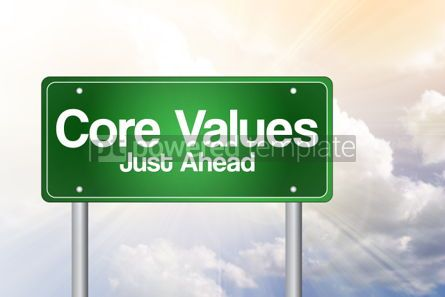 Business: Core Values Just Ahead Green Road Sign business concept #02330