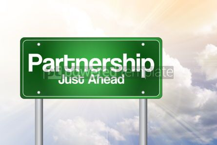 Business: Partnership Just Ahead Green Road Sign business concept #02331