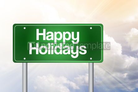Business: Happy Holidays Green Road Sign concept #02332