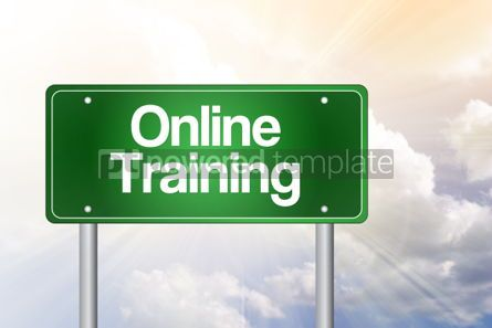 Business: Online Training Green Road Sign business concept