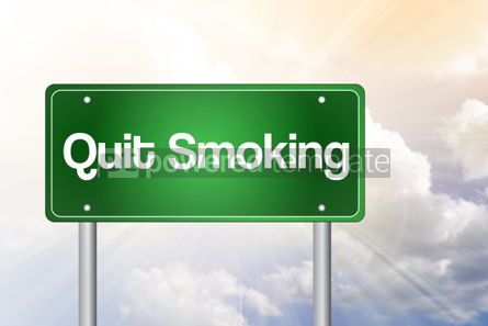 Business: Quit Smoking Green Road Sign conceptQuit Smoking Green Road Si #02346